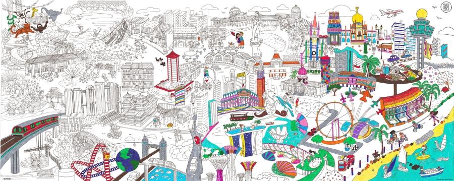 image-Scribolo : Poster à colorier de Singapour