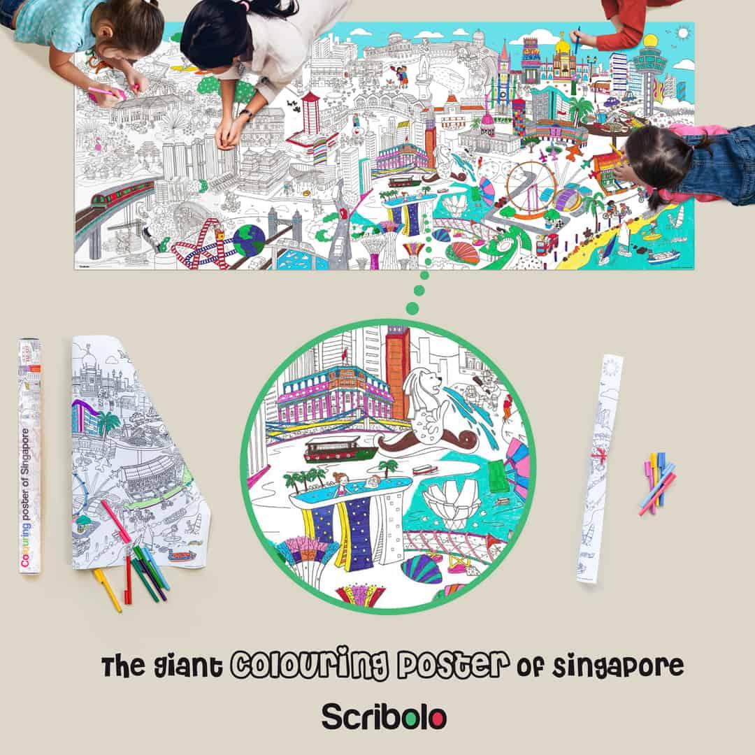 Poster Géant à Colorier de Singapour